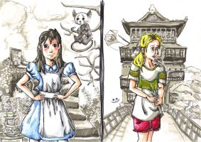 Ghibli meets Disney: Chihiro and Alice by LeanasArt