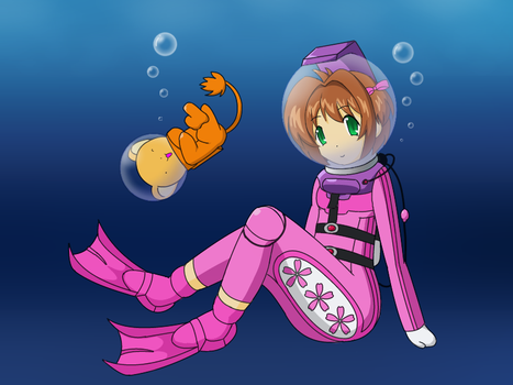 Sakura with scuba suit 2 by Nekomi4