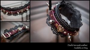 Dark Victorian Leather and Lace BDSM Collar by DarkHarvestLeather