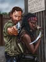 Rick and Michonne by dragynsart