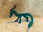 Multicolor Green and Black Pipecleaner Dragon by IsellaHowler