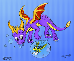 Spyro and Sparx ~ Swimming Along by RadSpyro