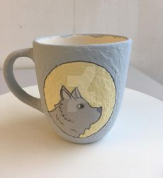 The Wolf and the Moon set mug 1 (before baking) by Dogsparadise