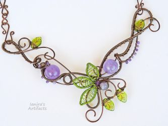 Wire wrapped bib necklace with amethyst by IanirasArtifacts