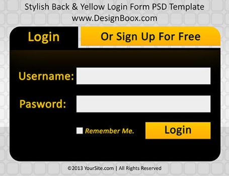 Stylish Black and Yellow Login Form PSD Template by MansyDesignTools