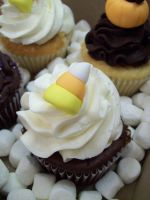 Candy corn cupcake by see-through-silence