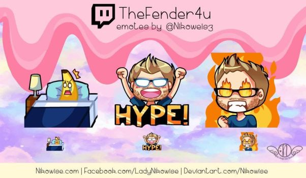 Commission- Twitch Emotes- TheFender4u by Nikowise