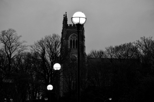 Church Tower with Lights bw by derbluthund