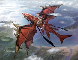 Red dragon flying by inshoo1