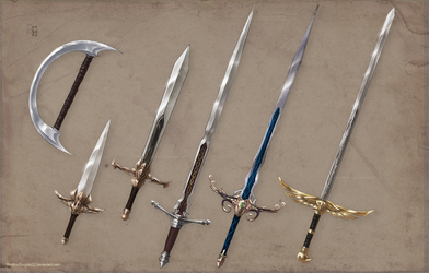 Luminare Saga Character Weapons by ShadowDragon22