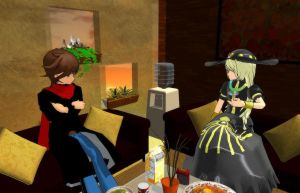 [MMD] Chatting with Karen Yawata by Merengil