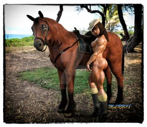 Muscle and Beauty_Girl and a Horse by MichelleLeRainbow