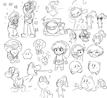Nintendo sketches by Gameaddict1234