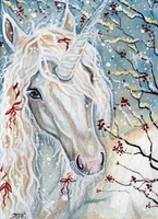 ACEO - A Christmas Unicorn by DawnUnicorn