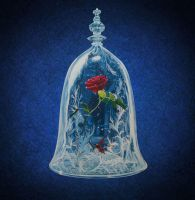 enchanted rose handpainted wall clock by Macca4ever
