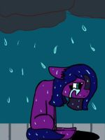 Sitting in the rain by Illiterate-Swine