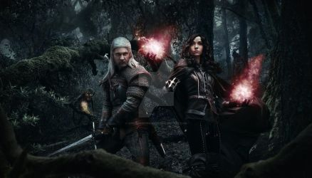 Geralt and Yennefer in forrest