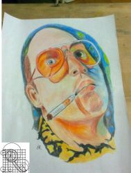 Fear and loathing in Las Vegas,Jhonny Deep drawing by robiartimre