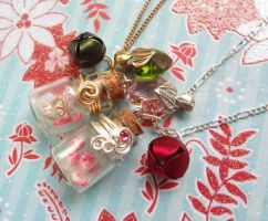 Bottle Beauty Necklace - Peppermint Candy by WaterGleam