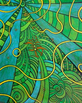 yellow lines in blue green flow by santosam81