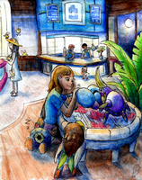 Late night at the Poke'Center by Night-Owl8