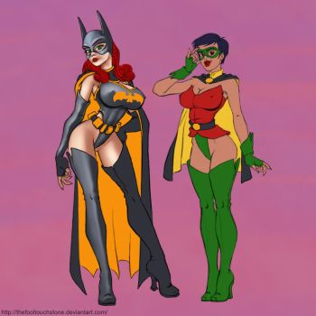 BatBabe and Swallow Pinup, W.I.P. by thefooltouchstone