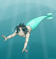 Swimming Cyan by Teddybear-93
