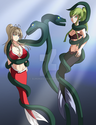 mermaids and serpents by elmonais