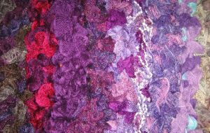 Handknitted Purple Frilly Scarves in fancy yarns by Valhallia
