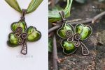 Shamrock wire wrapped pendant by ukapala