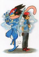 Ash Greninja - Our hearts are connected by AuFigirl
