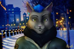 Portrait ''AlexA in winter night'' by Den-of-AlexA