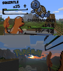 Charmander vs Squirtle Minecraft Battle by rith-sv