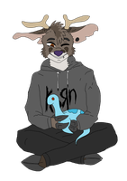 (ART TRADE) Ruben with Loch Ness Plushie! by TreyTheShiba