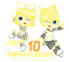 Happy 10th Anniversary Rin and Len!! by Power-Pie