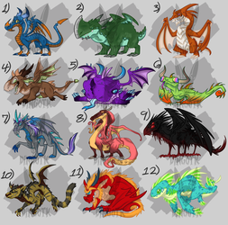 Adoptables! Series 1 : [ Colorful Dragons ] by DingoTK
