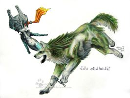 Wolf Link and Midna by ZulayaWolf