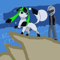 Gameon (winter form) on a cliff with warthogS117 by Axial97