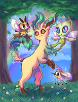 Leafeon and friends by Flufflix