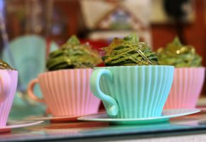Matcha (Green Tea) Cupcake Tea Cups by SpicaRy