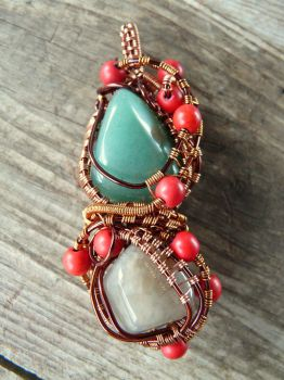 Wire Wrapped Cooper Agate and Aventurine Pendant by Naldor