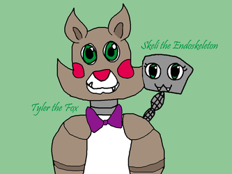 Tyler the Fox and Skeli the Endoskeleton by Foziz105
