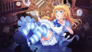 Commission: VN CG - Fall [Alice in Wonderland] by Jenova87
