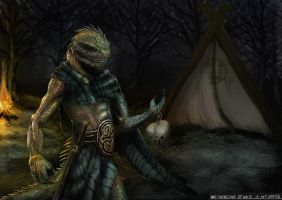 Character Design (Celtic 500BCE /Iguana/Warrior) by Archon0419