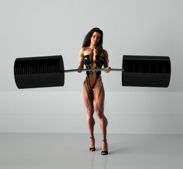 Female Muscle Lifting Weights by mythosgfx