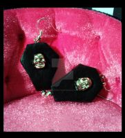 Gothic earrings 'Black Coffin' by TheSpiderStratagem