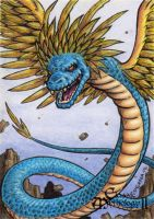 Quetzalcoatl Sketch Card - Classic Mythology II by tonyperna