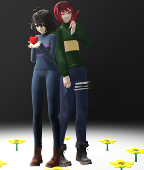 [MMD//UNDERTALE] Female!Frisk and Male!Chara [DL] by Kaktusss13