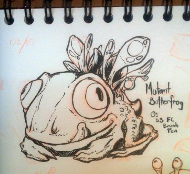 Inktober 01 Mutant Butterfrog by butterfrog