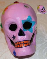 Paper Mache Skull 9 (SOLD) by angelacapel